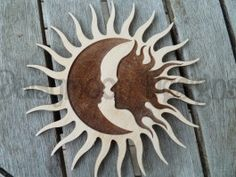 sun and moon stained glass patterns - Yahoo Image Search Results Wooden Craft Shapes, Wooden Crafts, Pictures Of The Sun, Sun Pics, Modern Outdoor Wall Art, Sun Silhouette, Sun Moon Stars, Scroll Saw Patterns, Beautiful Moon