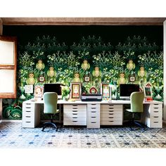 Check out the wall paper. Catalina Estrada eclectic-home-office Wallpaper Store, Wallpaper Collection, Of Wallpaper, Designer Wallpaper, Nature Wallpaper, Office Wallpaper, Amazing Wallpaper, Wallpaper Designs, Colorful Wallpaper