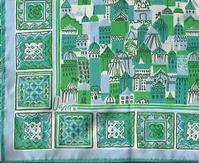 "Vintage 60s Vera Neumann 22"" Scarf Blue Green White Mid Century Mod Unused"