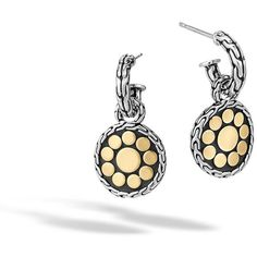 John Hardy Dot Sterling Silver & 18K Gold Round Drop Earrings (630 CAD) ❤ liked on Polyvore featuring jewelry, earrings, gold and silver, sterling silver post earrings, sterling silver drop earrings, sterling silver earrings, yellow gold earrings and gold post earrings