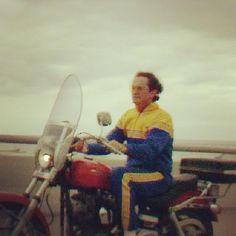 Legendary Marquette University men's basketball coach Al McGuire riding his Harley Davidson...like a boss. #mubb #harleydavidson #milwaukee