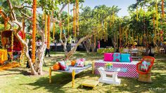 Indian wedding rentals   Luxury services on rent   Fashion on rent in India  vintage cars on rent, helicopter on rent, Pre wedding shoot locations   Colourful charpai seating for mehndi   Shot by Joseph Radhik