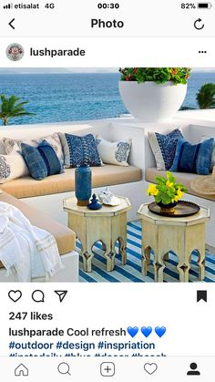 beach house patio with banquette seating in blue and white with Moroccan decor - Deck Seating, Banquette Seating, Moroccan Garden, Morrocan Decor, Blue Patio, Beach Patio, Moroccan Interiors, Outdoor Retreat, Terrace Design