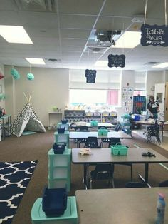In love with the colors & design for an older kid classroom