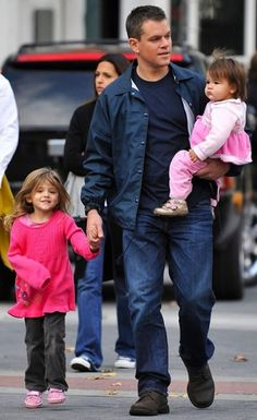 Matt Damon with his little girls...sigh...