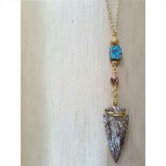 Jumbo arrowhead, magnesite and betal nut pendant. www.kjohnsonjewelry.com