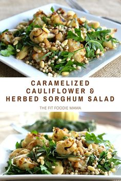 Caramelized Cauliflower and Herbed Sorghum Salad Recipe {Gluten Free, Vegan, Winter Salad, Fall Salad, Vegetarian} recipes vegetarian Salad Recipes Gluten Free, Vegetarian Recipes, Cooking Recipes, Healthy Recipes, Vegetarian Dinners, Free Recipes, Vegetarian Sandwiches, Vegetarian Salad, Vegetarian Breakfast