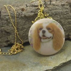 Cocker Spaniel Czech Button Pendant Necklace  Pastel Pink Colors Dog Lover Gift for Cocker Spaniel Lovers Dog Support Donation (24.83 USD) by GlobalBrights