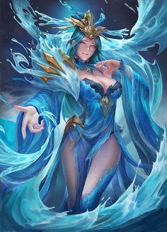 Goddess of water: Original anime character [digital art by WY C] Dark Fantasy Art, Fantasy Girl, Fantasy Art Women, Fantasy Kunst, Beautiful Fantasy Art, Fantasy Images, Fantasy Artwork, Fantasy Fairies, Art Anime Fille