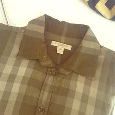 Bubery Brit shirt Size: xs /color: olive green/ very good condition/ it gets small for me unfortunately Burberry Tops Button Down Shirts