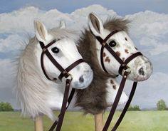 Two special custom made hobby horses. Cumple Toy Story, Horseshoe Projects, Horse Galloping, Stick Horses, Unicorn Doll, Fabric Animals, Hobby Horse, Carousel Horses, Soft Dolls