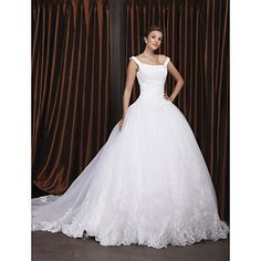 Ball Gown Off-the-shoulder Chapel Train Satin Organza Wedding Dress – USD $ 349.99