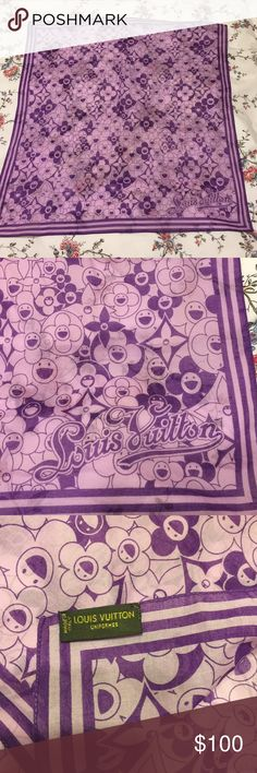 """Authentic Louis Vuitton Cotton Purple Square Scarf Authentic Louis Vuitton scarf. Scarf is 21""""x21"""". Perfect condition. No signs of wear. No trades please. If interested, comment below or make me an offer. Louis Vuitton Accessories Scarves & Wraps"""