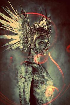 Warriors of the Rising Sun  Photographer:Ash Gupta/838 Media Group  Model: Olivia Fox  Makeup: Agne Rulinskaite (Cosmo Panele)  Headpiece:Miss G Designs  Body Painter: Michael Rosner (EYE LEVEL STUDIO)
