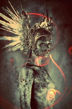 LOVE THIS! ...Warriors of the Rising Sun  Photographer:Ash Gupta/838 Media Group  Model: Olivia Fox  Makeup: Agne Rulinskaite (Cosmo Panele)  Headpiece:Miss G Designs  Body Painter: Michael Rosner (EYE LEVEL STUDIO)