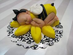 Bumble BEE Yellow Baby Shower First Birthday FONDANT BABY Cake Topper. $25.00, via Etsy.