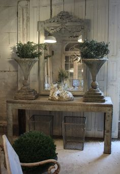 Industrial Table with Garden Vases from my friend at Atelier de Campagne French Cottage, French Country House, French Farmhouse, Unique Front Doors, Front Door Decor, French Decor, French Country Decorating, Garden Urns, Garden Planters