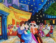 Tarkay Visits van Gogh - Cafe Terrace at Night by k Madison Moore, painting by artist k. Madison Moore
