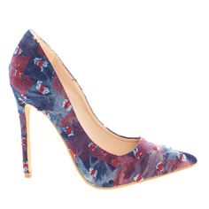High Heel Dress Pump w Multi Colored Distressed Jean Vamp ** Check out the image by visiting the link.