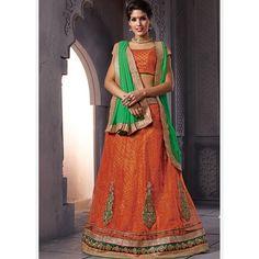 Orange Heavy Embroidered Bridal Wear Lehenga Choli at Easysarees. Green Lehenga, Bridal Lehenga Choli, Lehenga Saree, Net Saree, Designer Sarees Collection, Saree Collection, Orange Fabric, Orange Color, Indian Wedding Lehenga