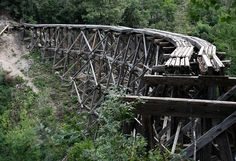Lake Erie Bluffs via Today Leatherbark Creek, West Virginia abandoned train trestle near Cloudcroft, New Mexico Abandoned Train, Abandoned Buildings, Abandoned Places, Magic Places, Old Trains, Land Of Enchantment, Train Tracks, Railroad Tracks, Places To See