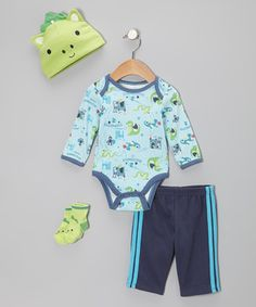 Setting out for the day's adventure, bitty babes need the right gear to stay cozy and this sweet set has all the right stuff. The easy-on pants and quick snap bodysuit make for a dynamic duo, while the matching beanie and socks help round out the look.