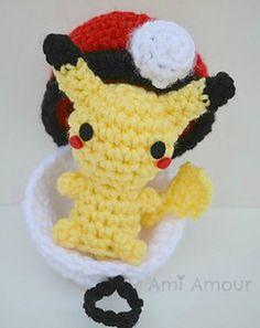 tiny pikachu and pokeball crochet free pattern