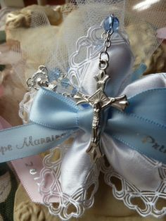Communion and Confirmation Rosary Confetti Favors 9 Styles (min Baptism Party Favors, Christening Favors, Communion Favors, Baby Christening, Bridal Shower Favors, Italian Wedding Favors, Anniversary Favors, Baptism Ideas, How To Make Ribbon