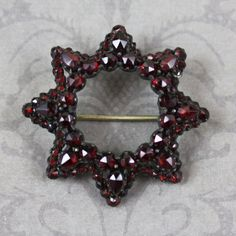 Victorian to Early 1900s Red Bohemian Garnet Brooch by scdvintage on Etsy $120