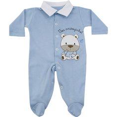 Macacão Bebê Barato Menino em Suedine Azul - Goiabada :: 764 Kids | Roupa bebê e infantil