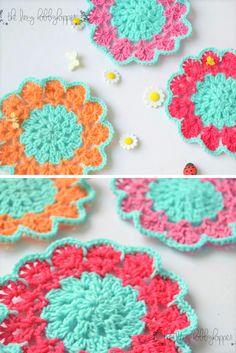 Spring blossom coasters - free crochet pattern