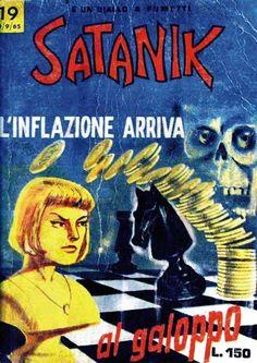 """Il mitico Ivano Satos mi segnala questa splendida copertina del fumetto Satanik n. 19 (settembre 1965) dal titolo """"L'inflazione arriva al galoppo"""". #Satanik #Chess #Scacchi #MaxBunker"""