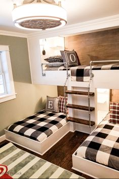 See how this small room is transformed with custom bunk beds, buffalo plaid and red trucks. This small space feels large with this timeless makeover. Bunk Beds For Girls Room, Bunk Bed Rooms, Beds For Small Spaces, Bunk Beds Built In, Cool Bunk Beds, Bunk Bed Ideas For Small Rooms, Kids Bunk Beds, Small Room Bedroom, Girls Bedroom