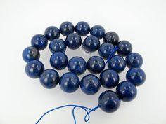 Blue lapis lazuli round beads, 16mm Smooth Gemstone beads, DIY loose beads by Susiesgem on Etsy