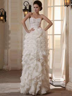 $386.79 Lovely Column Organza Sweetheart Floor-length Wedding Dresses  #Cheap #wedding #dresses #