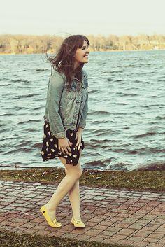 denim jacket & a floral dress
