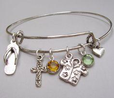 Adjustable BANGLE Bracelet  Silver Hawaiian by LittleDivasBangles