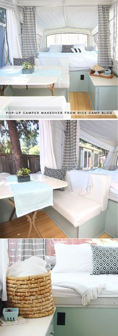 This pop-up camper makeover cost less than 200 and is bright airy and ready for summer This pop-up camper makeover cost less than 200 and is bright airy and ready for summer Andrea Sievert Happy nbsp hellip Popup Camper Remodel, Camper Renovation, Diy Camper, Small Pop Up Camper Remodel, Camper Life, Happy Campers, Rv Campers, Small Pop Up Campers, Pop Up Tent Trailer