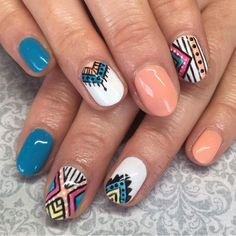 Tribal Art In Blue White Beige Polish For Short Oval Nails