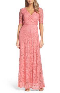 New ELLEN TRACY Lace Faux Wrap Gown fashion online. [$198]?@shop.fshdress<<
