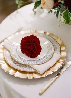 Southern Wedding venue: CJ's Off the Square, intimate garden wedding Tennessee - floral place setting with roses