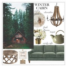 """Cozy Cabin Style 14-1-2017"" by anamarija00 ❤ liked on Polyvore featuring interior, interiors, interior design, home, home decor, interior decorating, Gien, cabinstyle and wintercabin"
