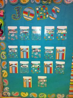 Very cute for the classroom. Classroom jobs in Dots on Turquoise, Paisley, and Stripes and Stitches decor. Classroom Jobs, Classroom Organisation, Classroom Bulletin Boards, Classroom Environment, Classroom Setup, Classroom Design, Classroom Displays, Future Classroom, Classroom Management