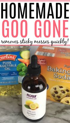 Dealing with sticky labels and gunk on stuff? Check out how to make DIY goo gone. Skip the chemicals in regular goo gone and make it yourself with this homemade goo gone recipe. All Natural Cleaning Products, Homemade Cleaning Products, Cleaning Recipes, House Cleaning Tips, Cleaning Hacks, Diy Cleaners, Household Cleaners, Cleaners Homemade, Homemade Goo Gone