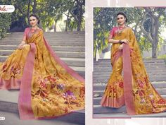 printed Linen Sarees with zari Border with matching blouse material. Indian Sarees Online, Latest Designer Sarees, Printed Linen, Fashion Brand, Online Printing, Sari, Blouse, Prints, Saree