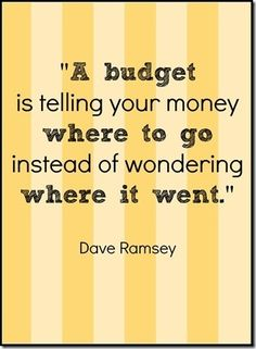 A budget is telling your money where to go instead of wondering where it went.