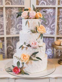 rose and eucalyptus topped cake @weddingchicks