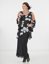 Plus size Box 2 black/white voile vest, skirt and scarf