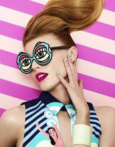The Terrier and Lobster: Maryna Linchuk in Pop-Inspired Makeup Shot by Lacey for Vogue Japan March 2013