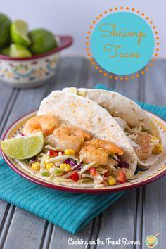 Shrimp Tacos Spicy Coleslaw www.cookingonthefrontburners.com #shrimp #tacos #coleslaw